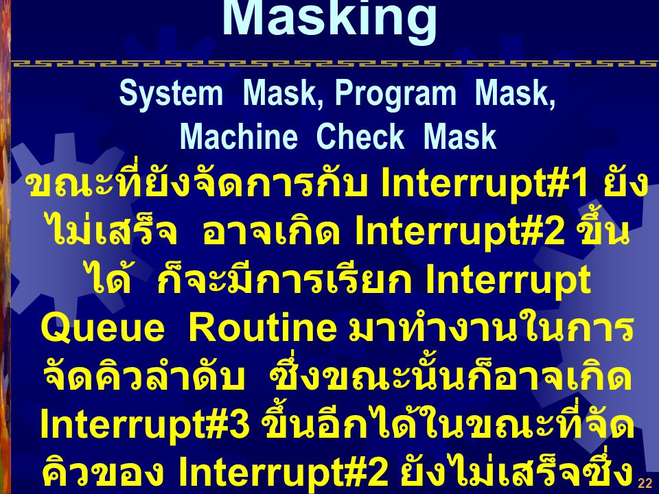 System Mask, Program Mask, Machine Check Mask