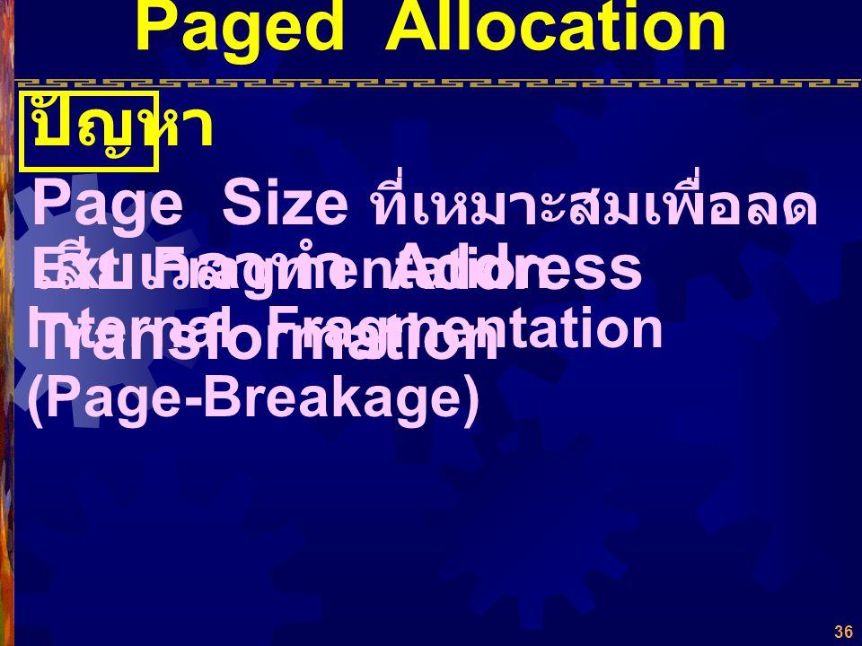 Paged Allocation ปัญหา Page Size ที่เหมาะสมเพื่อลด Ext. Fragmentation