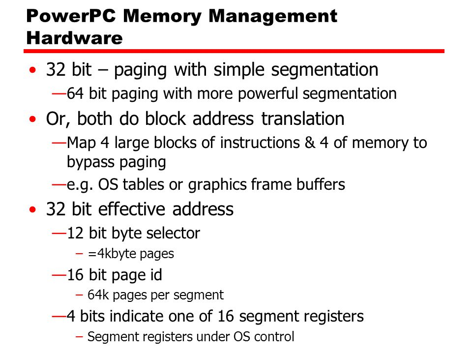 PowerPC Memory Management Hardware