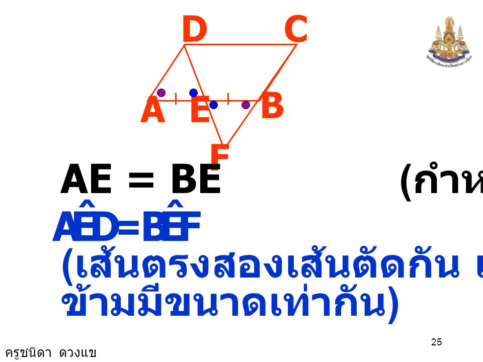 D E A ˆ F B AE = BE (กำหนดให้) = (เส้นตรงสองเส้นตัดกัน แล้วมุมตรง