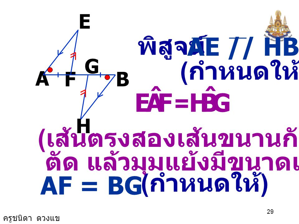 F A E ˆ G B H AE // HB พิสูจน์ (กำหนดให้) =