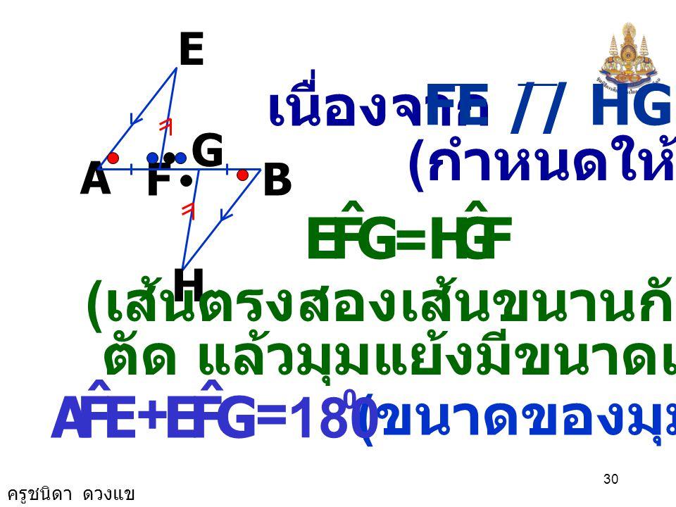 G F E ˆ H E F A ˆ G เนื่องจาก FE // HG (กำหนดให้) =