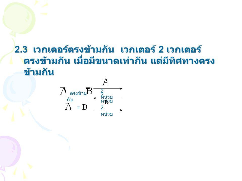 2.3 เวกเตอร์ตรงข้ามกัน เวกเตอร์ 2 เวกเตอร์ ตรงข้ามกัน เมื่อมีขนาดเท่ากัน แต่มีทิศทางตรงข้ามกัน