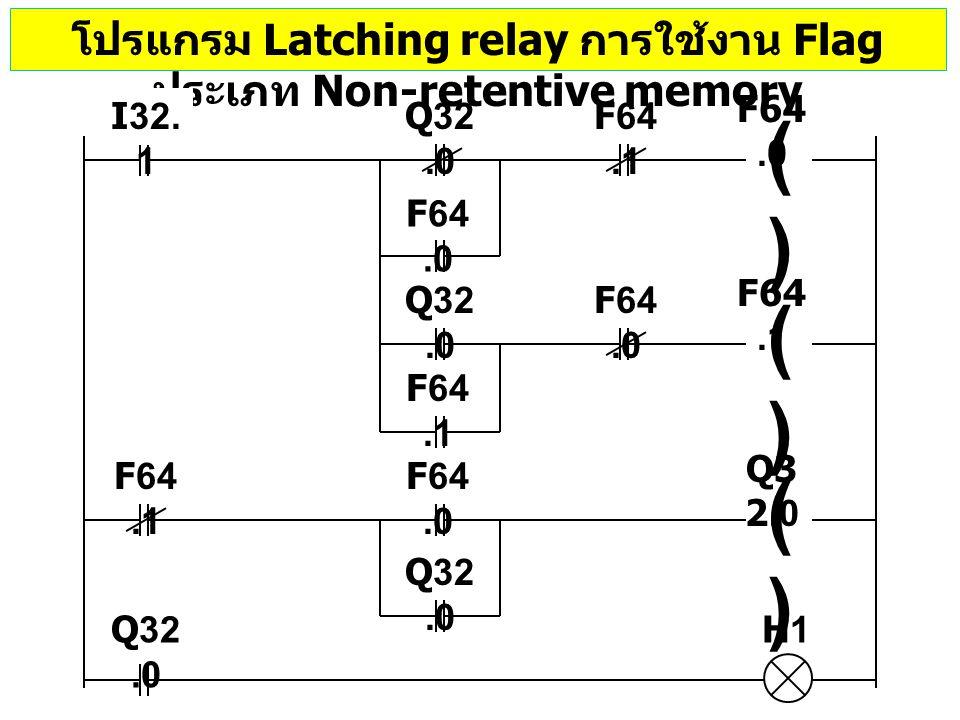 โปรแกรม Latching relay การใช้งาน Flag ประเภท Non-retentive memory