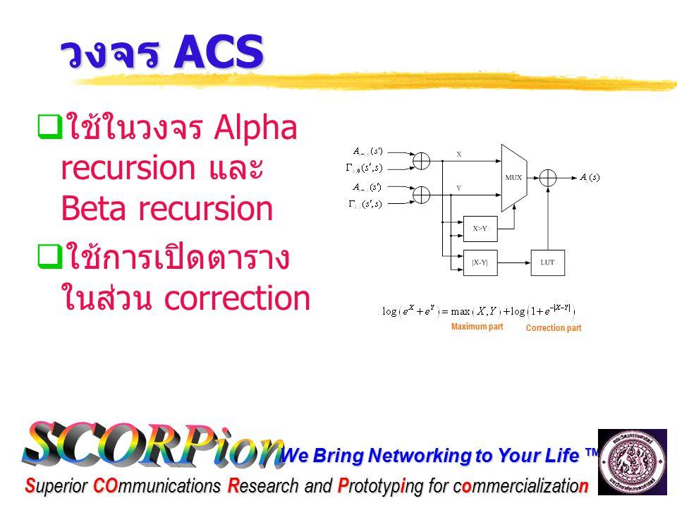 วงจร ACS ใช้ในวงจร Alpha recursion และ Beta recursion