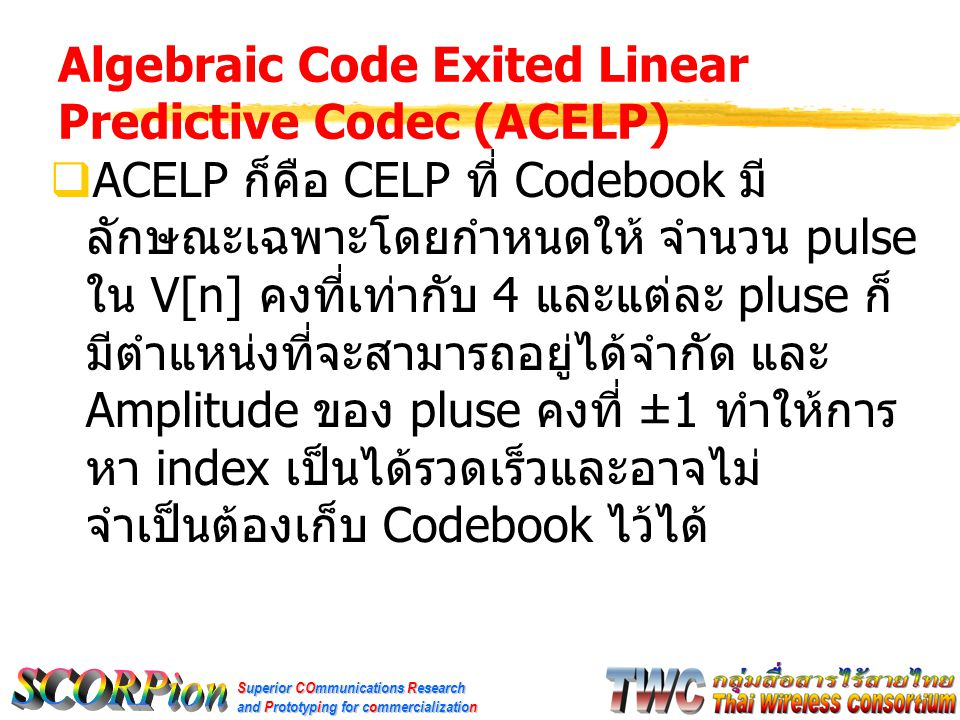 Algebraic Code Exited Linear Predictive Codec (ACELP)