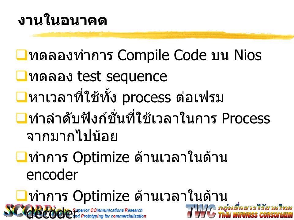 งานในอนาคต ทดลองทำการ Compile Code บน Nios. ทดลอง test sequence. หาเวลาที่ใช้ทั้ง process ต่อเฟรม.