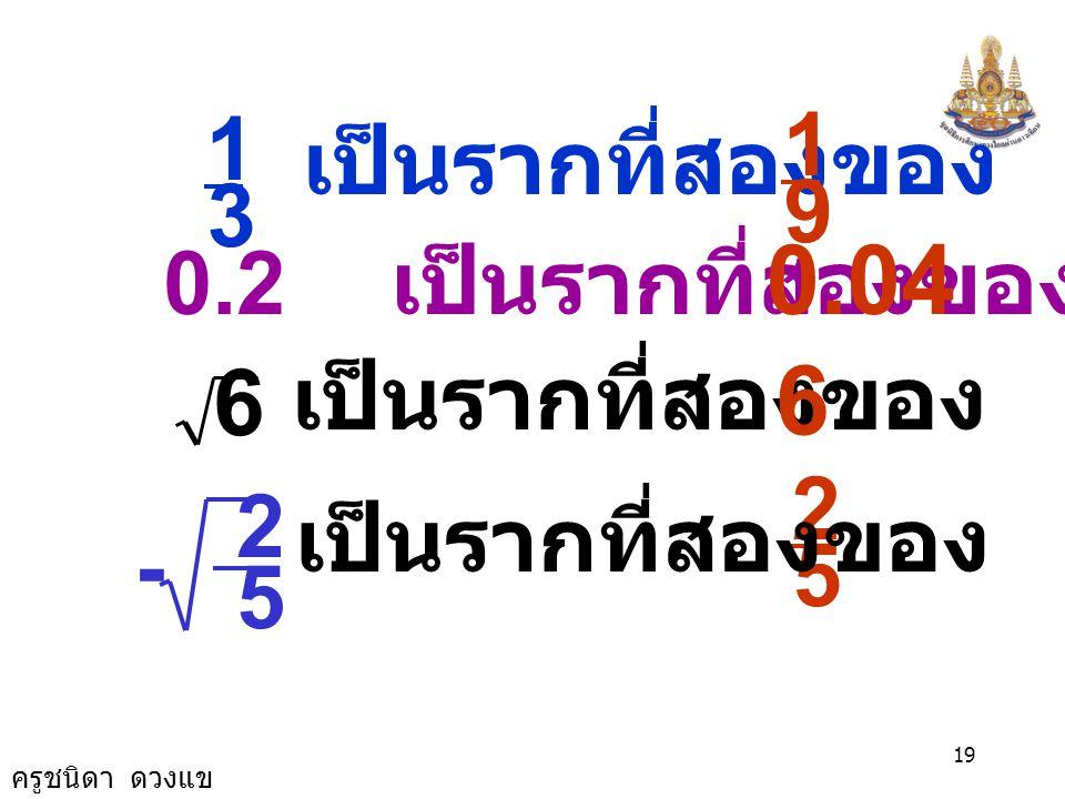 0.04 6 6 1 1 เป็นรากที่สองของ 9 3 0.2 เป็นรากที่สองของ