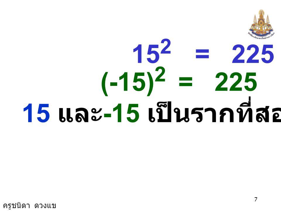 15 และ-15 เป็นรากที่สองของ 225