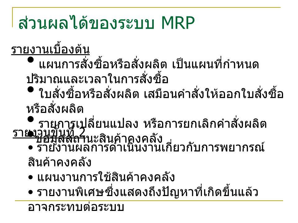 ส่วนผลได้ของระบบ MRP รายงานเบื้องต้น