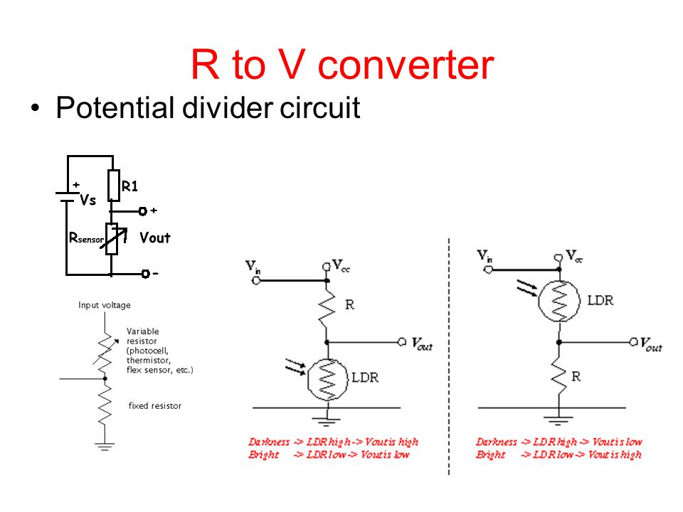 R to V converter Potential divider circuit