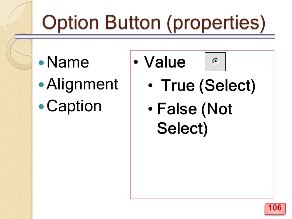 Option Button (properties)