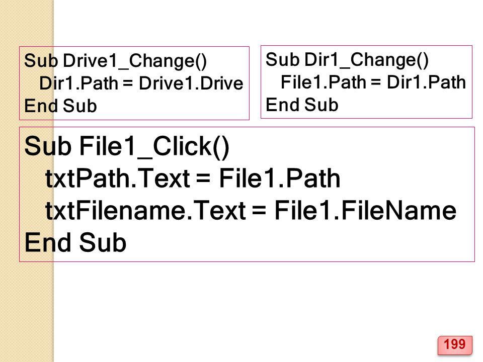 txtPath.Text = File1.Path txtFilename.Text = File1.FileName End Sub
