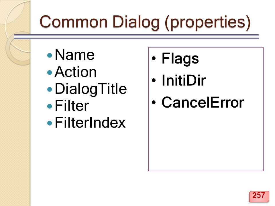 Common Dialog (properties)