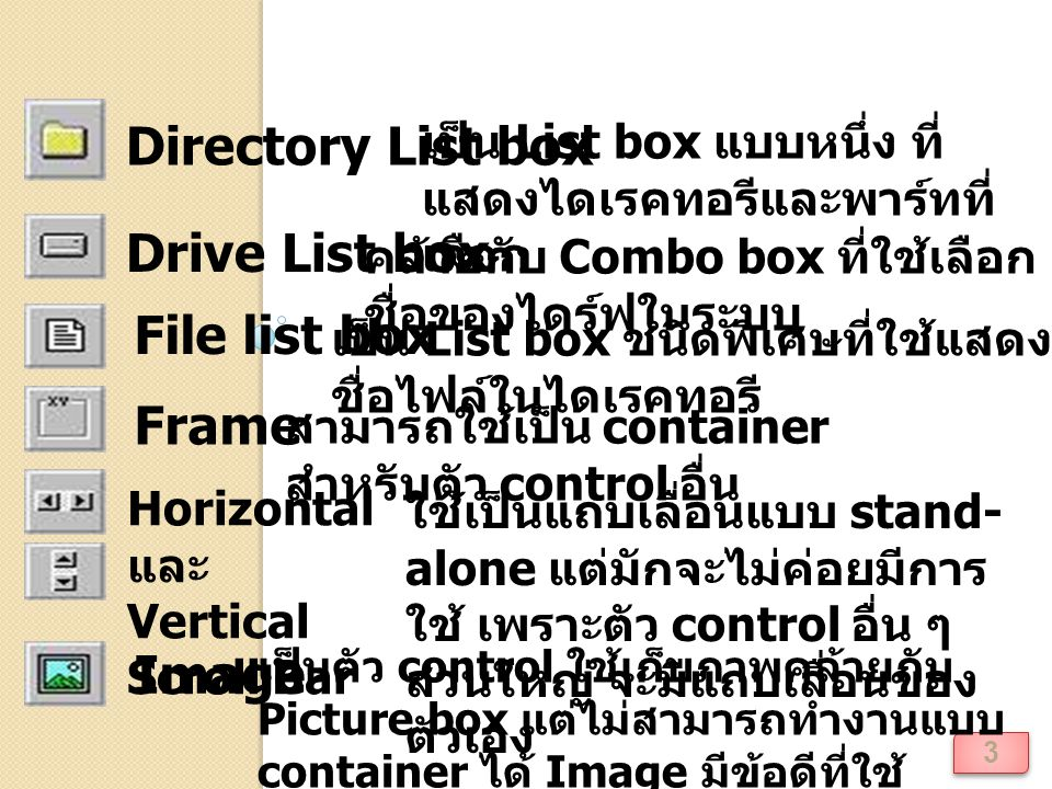 Directory List box Drive List box File list box Frame Image
