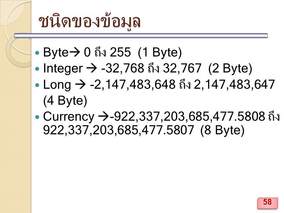 ชนิดของข้อมูล Byte 0 ถึง 255 (1 Byte)