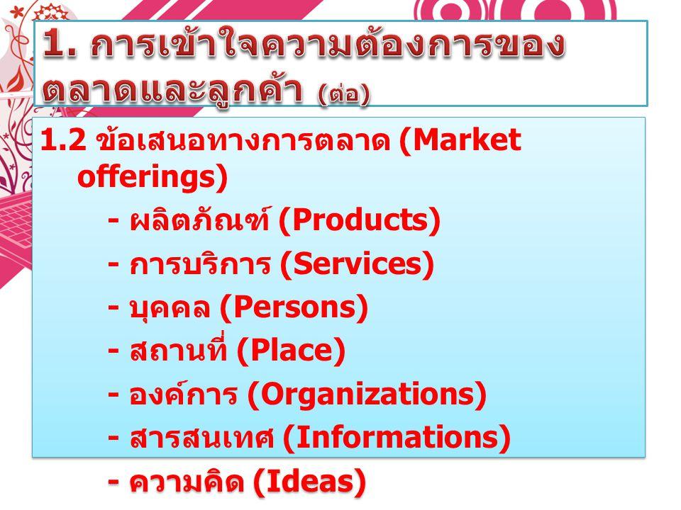 1. การเข้าใจความต้องการของตลาดและลูกค้า (ต่อ)