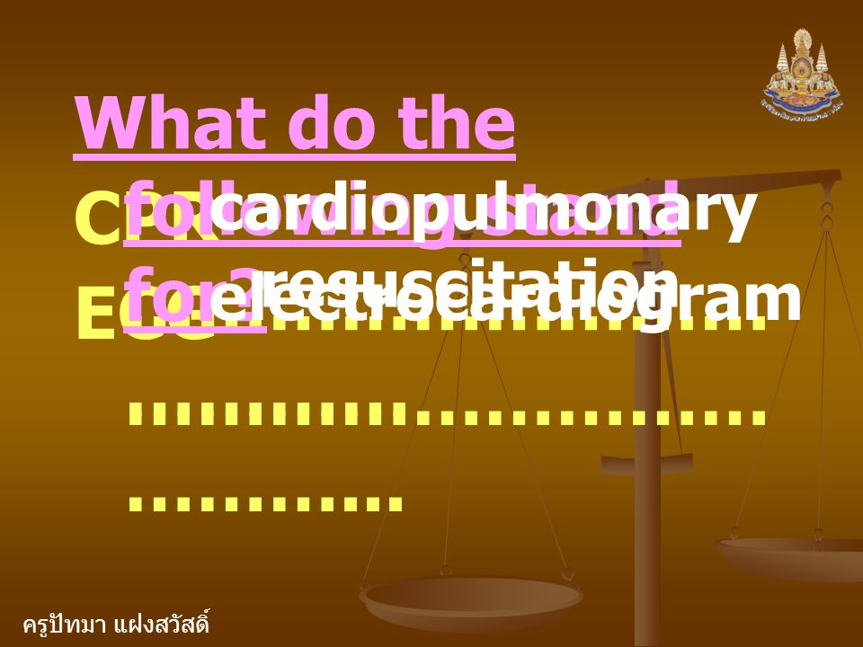 What do the following stand for CPR ………………………………… ECG ………………………………...