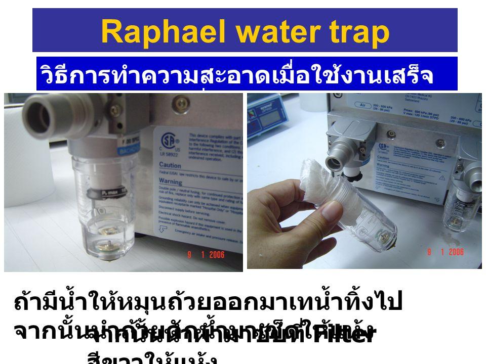 Raphael water trap วิธีการทำความสะอาดเมื่อใช้งานเสร็จแล้ว ก่อนนำเครื่องไปเก็บ. ถ้ามีน้ำให้หมุนถ้วยออกมาเทน้ำทิ้งไปจากนั้นนำถ้วยดักน้ำมาเช็ดให้แห้ง.