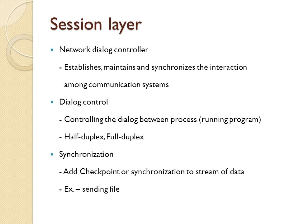 Session layer Network dialog controller