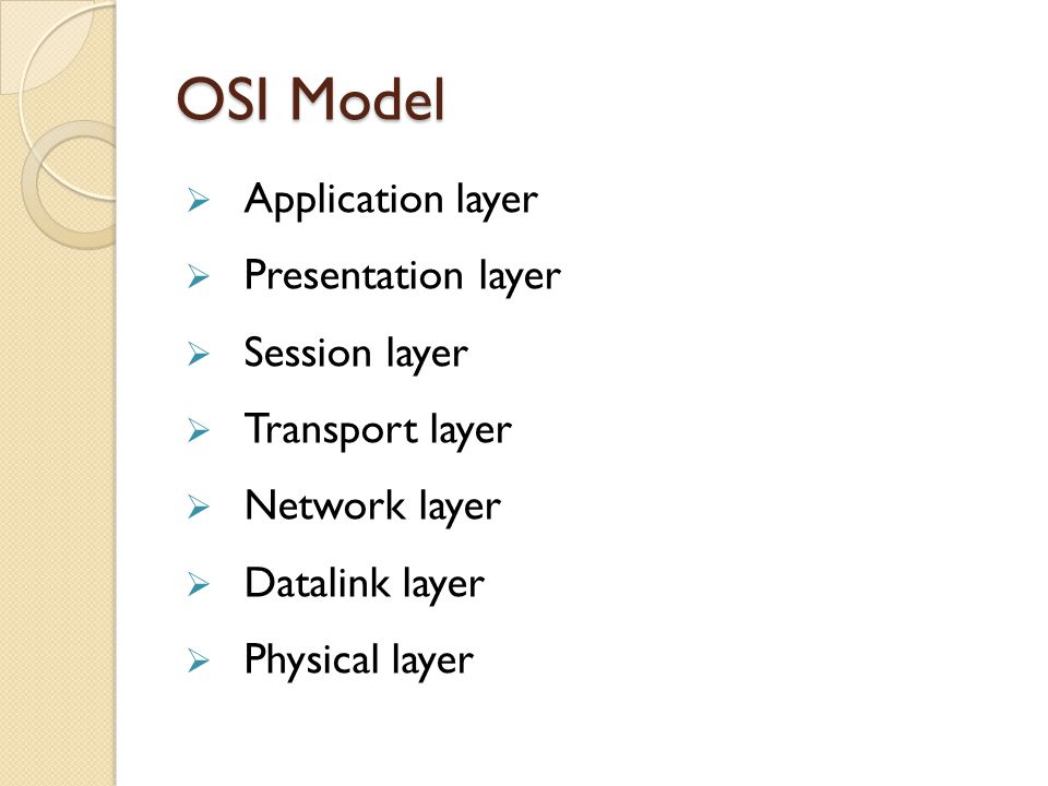 OSI Model Application layer Presentation layer Session layer