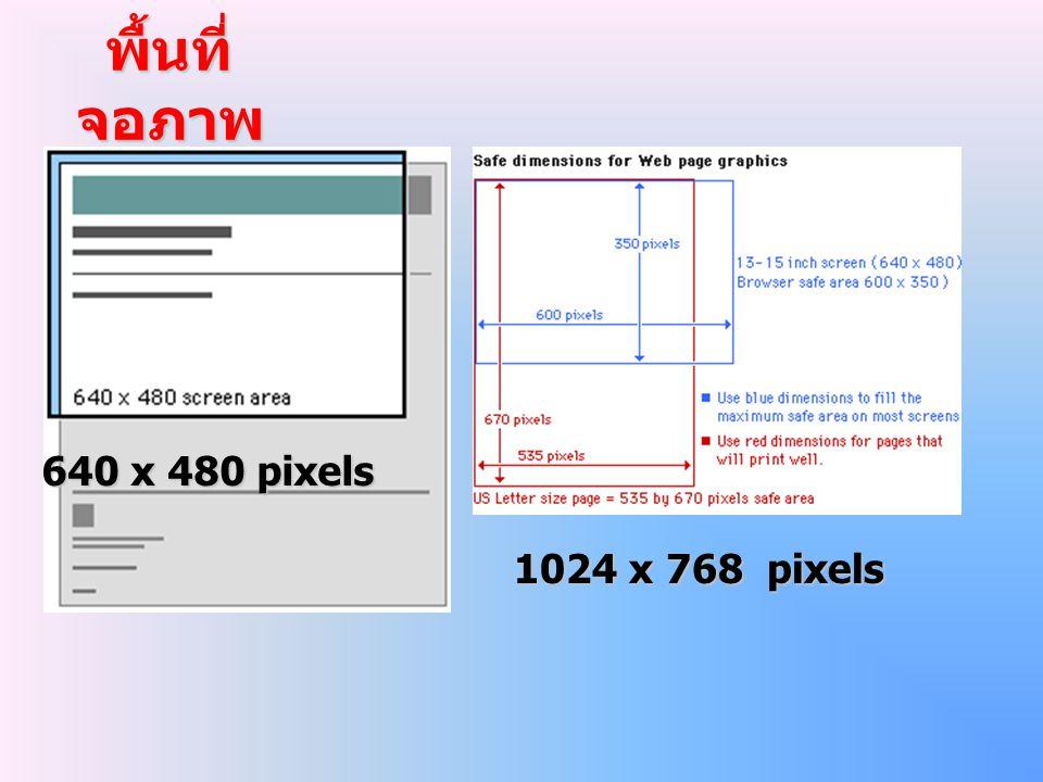พื้นที่จอภาพ 640 x 480 pixels 1024 x 768 pixels