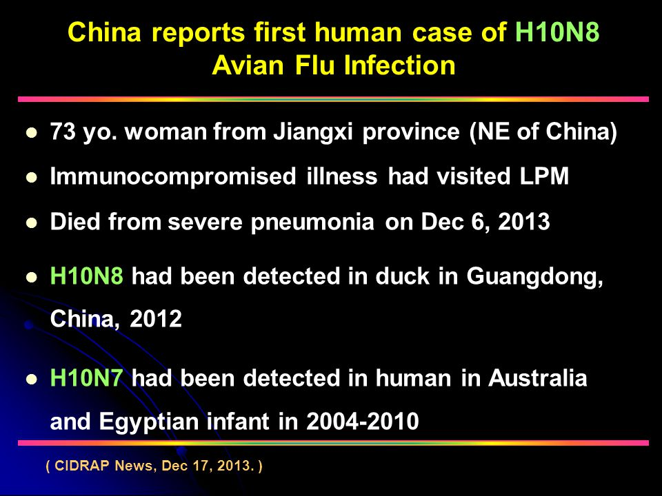 China reports first human case of H10N8 Avian Flu Infection