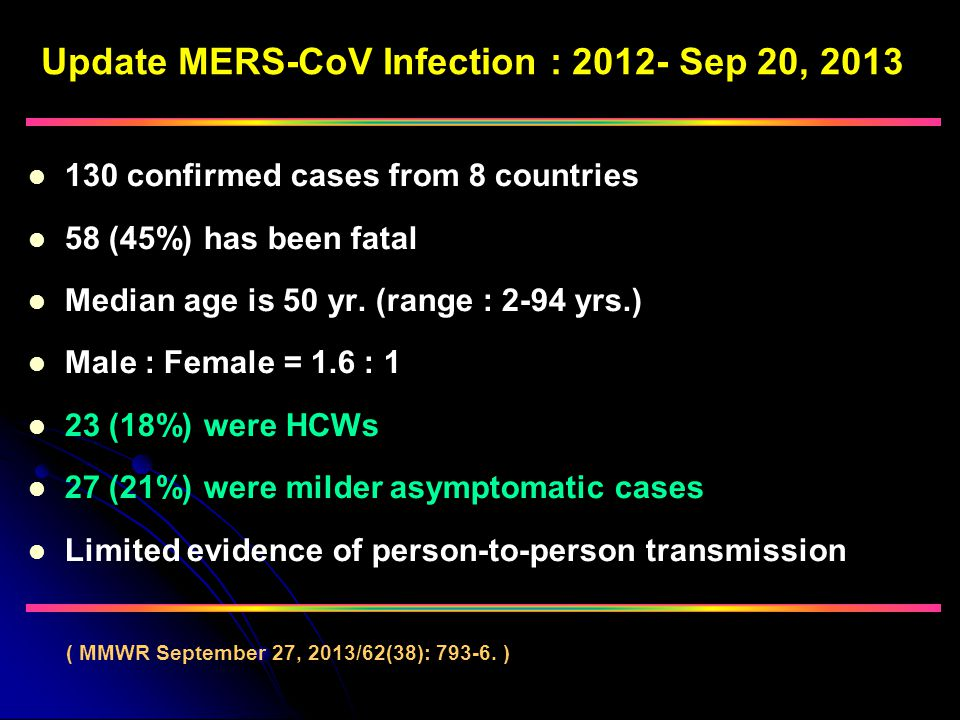 Update MERS-CoV Infection : 2012- Sep 20, 2013