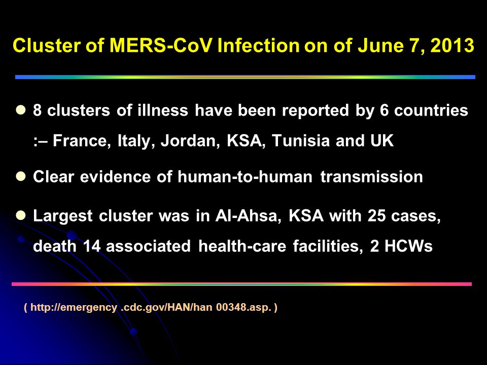 Cluster of MERS-CoV Infection on of June 7, 2013