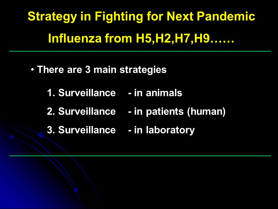 Strategy in Fighting for Next Pandemic Influenza from H5,H2,H7,H9……