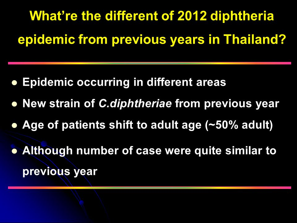What're the different of 2012 diphtheria epidemic from previous years in Thailand