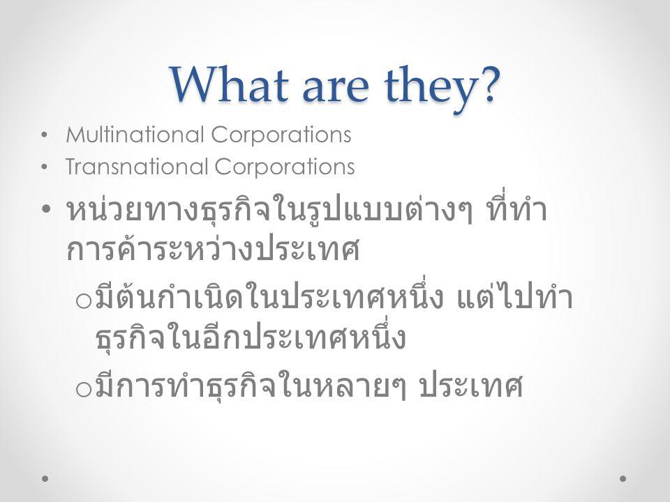 What are they หน่วยทางธุรกิจในรูปแบบต่างๆ ที่ทำการค้าระหว่างประเทศ