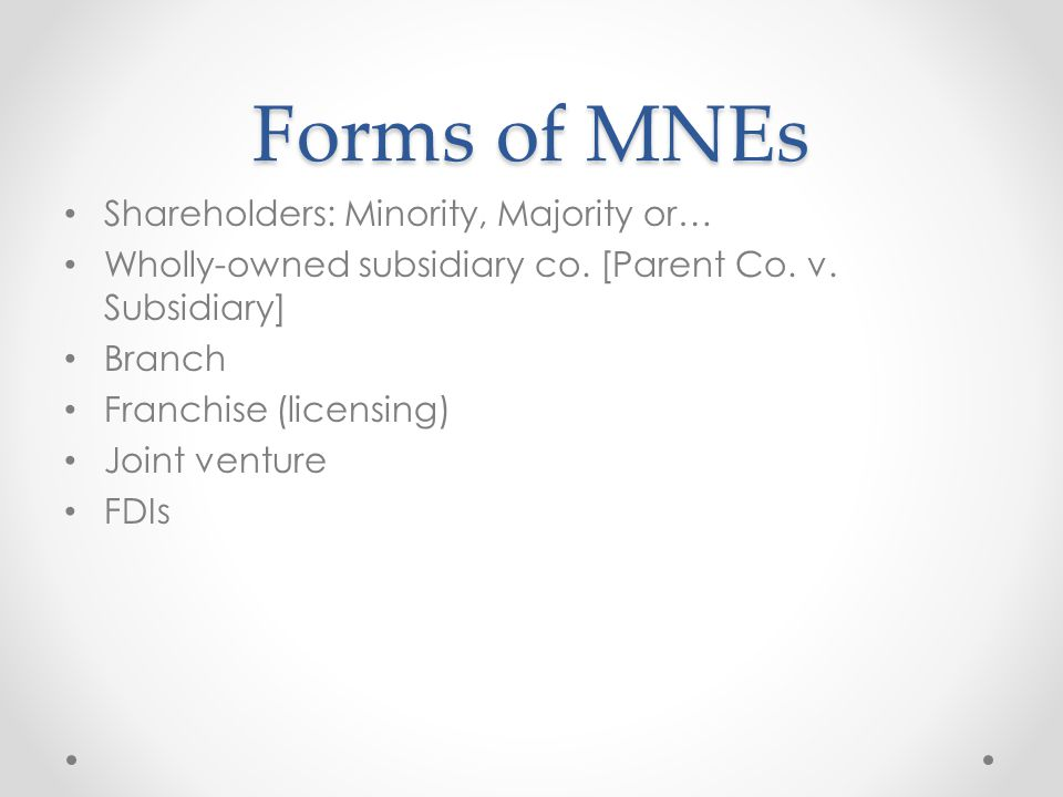 Forms of MNEs Shareholders: Minority, Majority or…