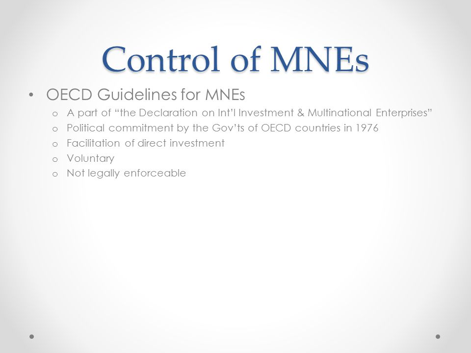 Control of MNEs OECD Guidelines for MNEs