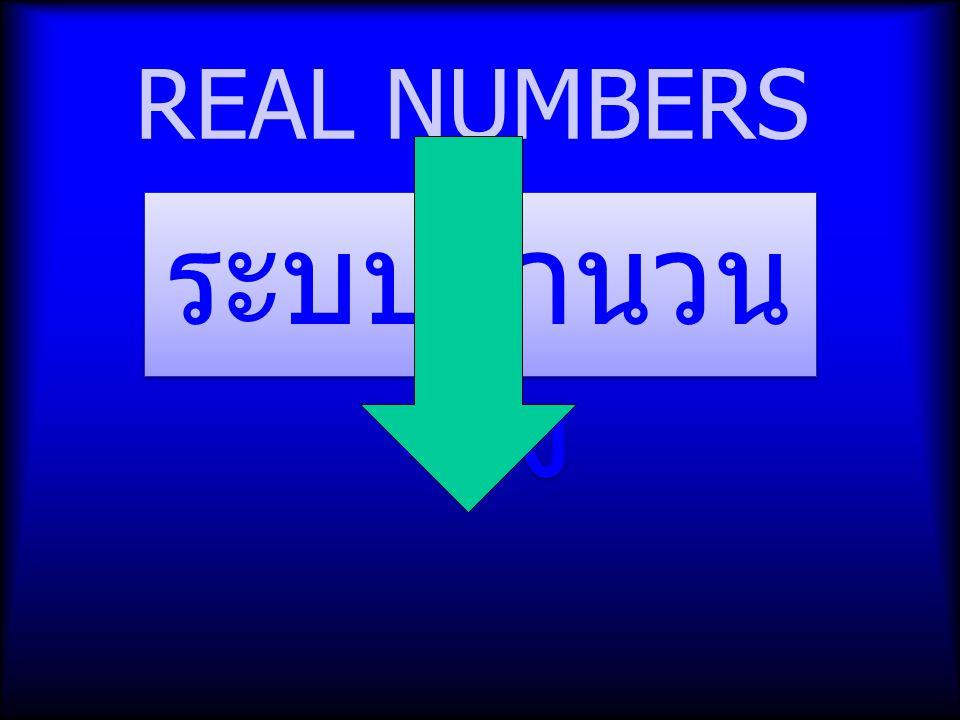 REAL NUMBERS ระบบจำนวนจริง