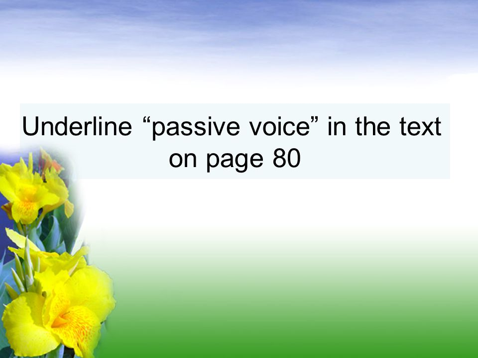 Underline passive voice in the text