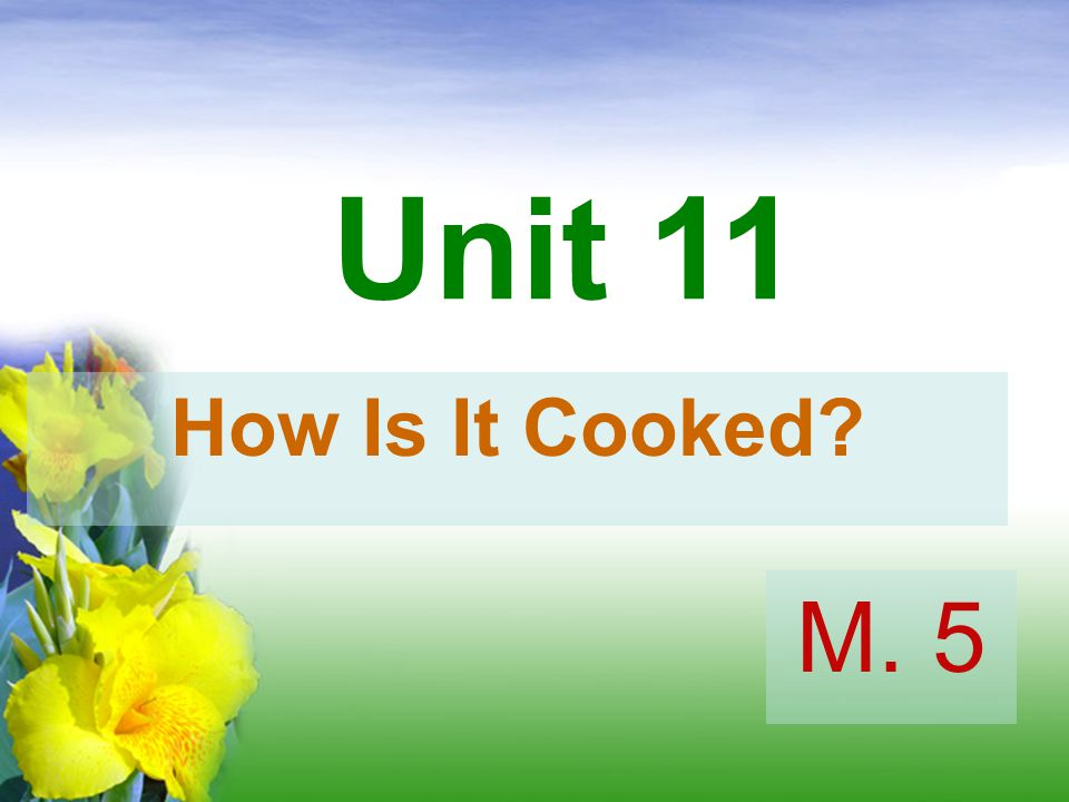 Unit 11 How Is It Cooked M. 5