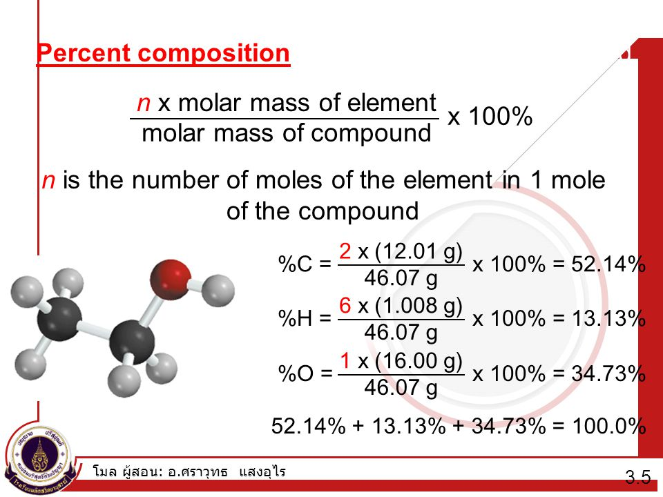 Percent composition of an element in a compound