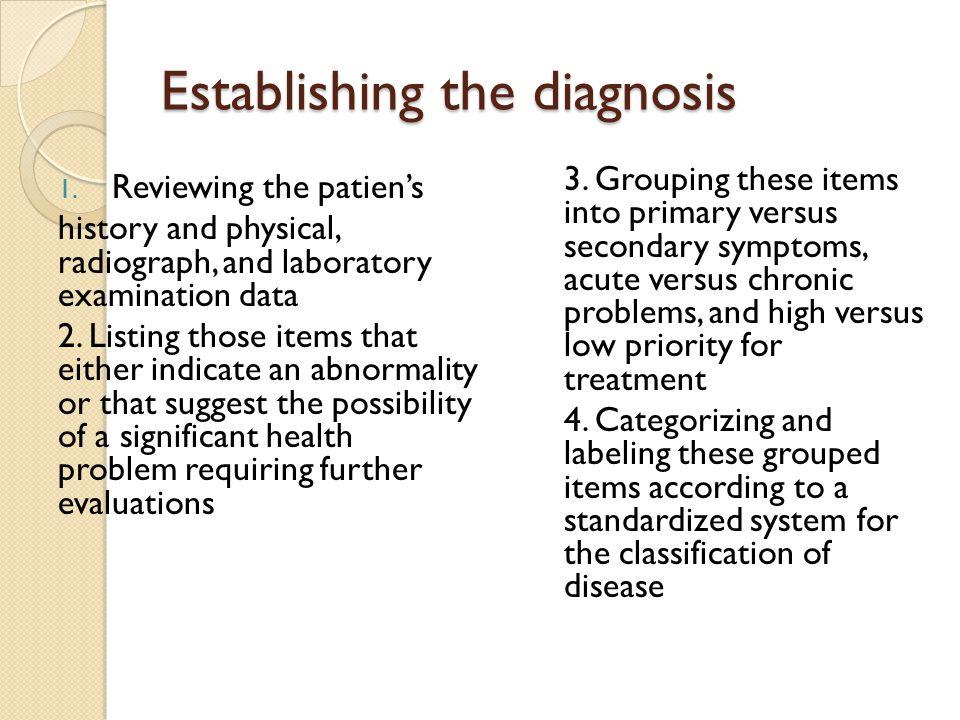 Establishing the diagnosis