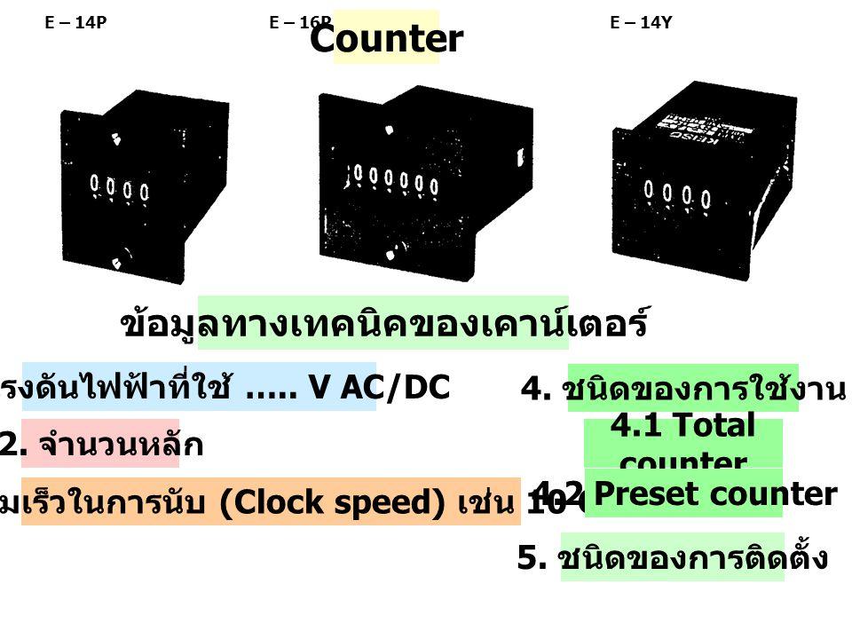Counter ข้อมูลทางเทคนิคของเคาน์เตอร์