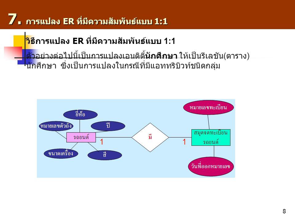 7. การแปลง ER ที่มีความสัมพันธ์แบบ 1:1