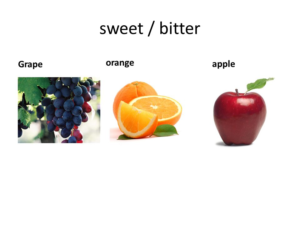 sweet / bitter Grape orange apple