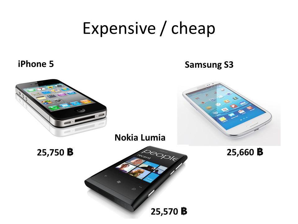 Expensive / cheap iPhone 5 Samsung S3 Nokia Lumia 25,750 ฿ 25,660 ฿