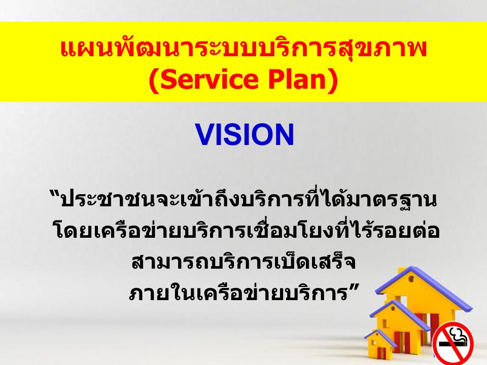 VISION แผนพัฒนาระบบบริการสุขภาพ (Service Plan)
