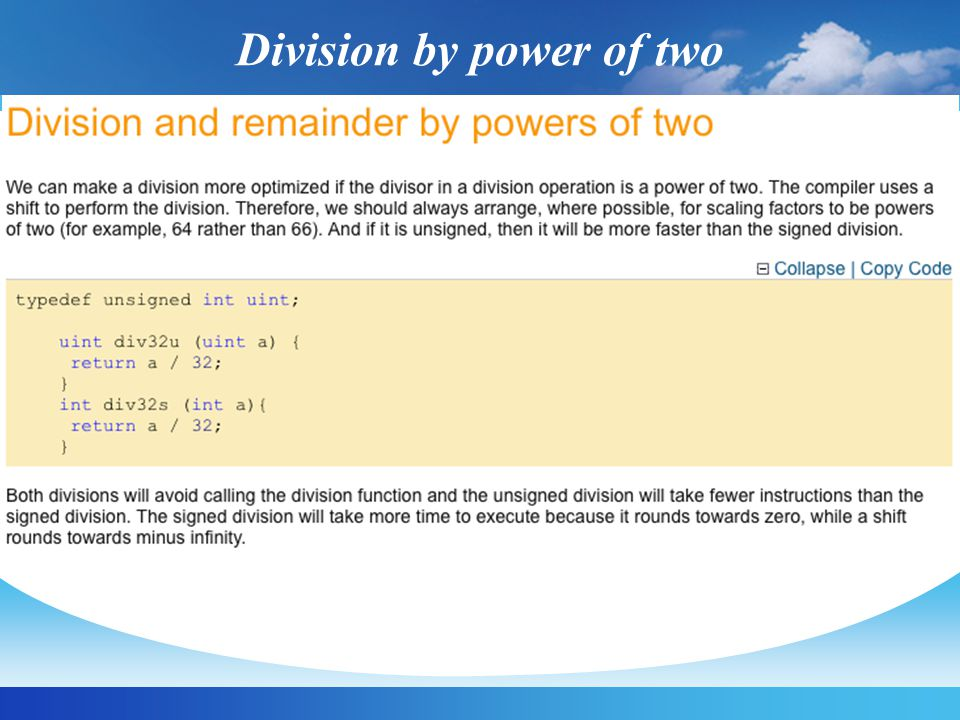 Division by power of two