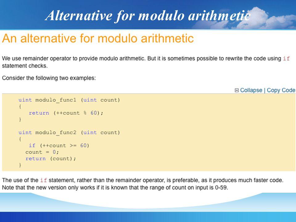 Alternative for modulo arithmetic