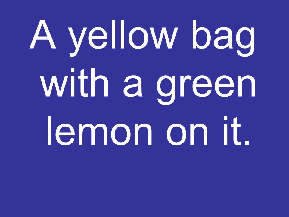 A yellow bag with a green lemon on it.