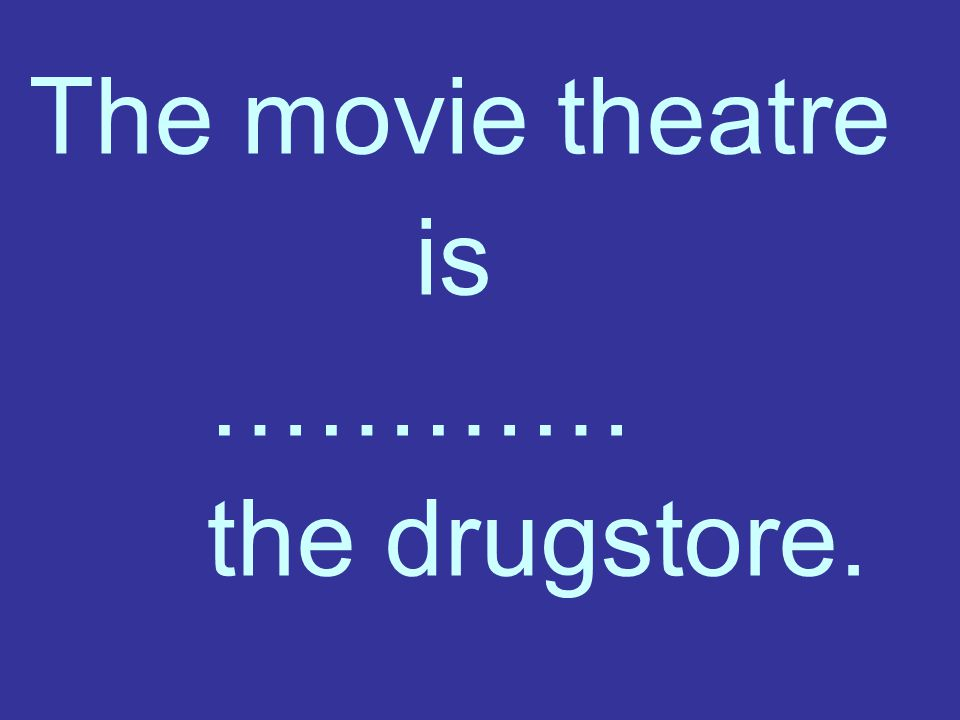 The movie theatre is ………… the drugstore.