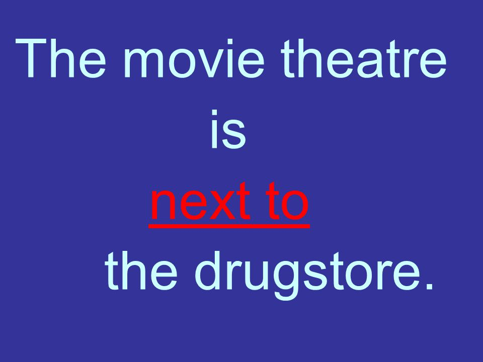 The movie theatre is next to the drugstore.