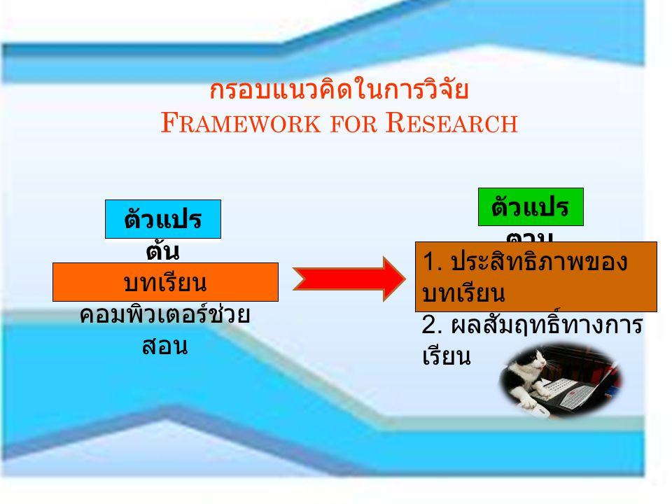 กรอบแนวคิดในการวิจัย Framework for Research